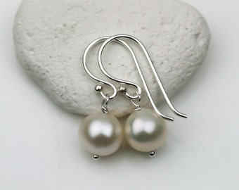 Freshwater White Pearl Earrings in Sterling Silver or Gold