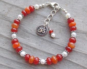 Om Aum Orange Botswana Agate Carnelian Pearl Healing Gemstone Bracelet