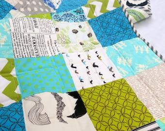 Quilt Baby Modern BoyToddler Crib Patchwork Blue Green Black and White Designer Fabrics