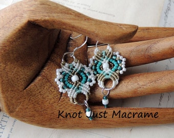 Khaki Turquoise and White Lacey Beaded Macrame Earrings MicroMacrame