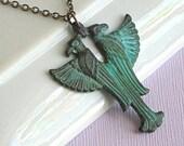 Egyptian Eagle Necklace - Verdigris Brass