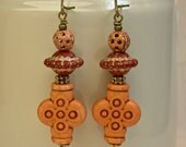 Vintage Orange Colored Lucite 4 Leaf Clover Bead Earrings, Ornate Copper Beads, Brass