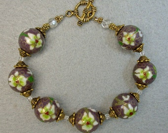 Vintage Chinese Cloisonne RARE Purple Bead Bracelet -White Red Lime Green Flowers, Gold, Vintage Crystal Beads - GIFT WRAPPED