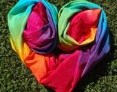 Big Double Rainbow Play Silk, 44x72 inches, Waldorf, scarf, sarong