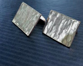 tree bark - textured cufflinks rectangular - All Sterling Silver