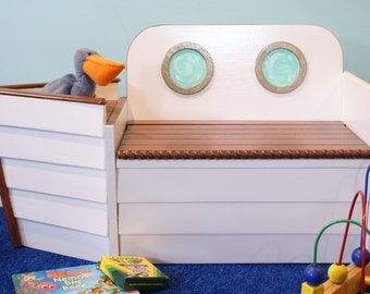 Toy Box, Toy Chest,Nautical Toy Box, FREE SHIPPING, White Wooden Boat Toy Box, Toy Boat, Toy Storage, Nautical nursery,kids bench,playroom