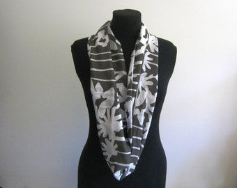 Infinity Scarf - Lightweight  Cotton Circle Scarf - Blues and Grey