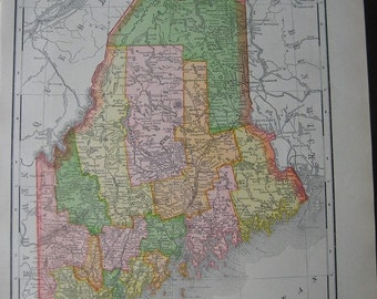 Large Antique 1910 Color Map of Maine and New Hampshire