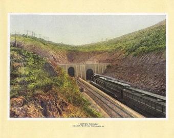 1927 Print of the Raton Tunnel on the Santa Fe Trail, Colorado FREE U.S. SHIPPING