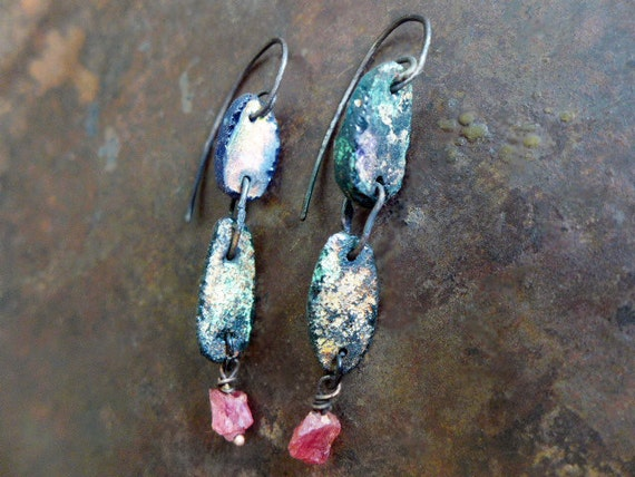 Deep Space Love Story. Roman glass ruby and sterling rustic bohemian assemblage earrings.
