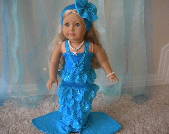 4-pc  Turqouise Mermaid Costume for 18 inch Doll