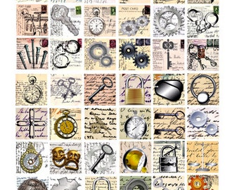 very inventive Steampunk metal postcards 1 inch SQUARES digital download collage sheet key gears watch clock printable