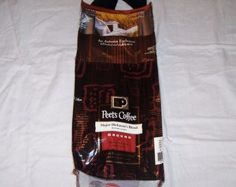 Go green Eco Friendly Wine or liqueor Gift Bag made with Recycled Coffee Bags One of a Kind