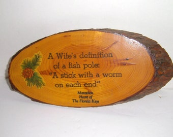 Vintage Fishing Sign - Marathon Florida Souvenir - Wife's Definition Of Fishing Wood Wall Decor - Funny Wall Sign - Wood Wall Hanging