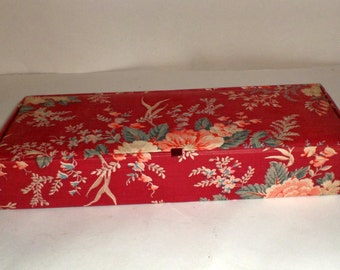 Vintage Long Fabric Covered Box Scarf Box - Glove Box - Jewelry Box - Trinket Box - Red Floral Covered Box - Gloves Storage Case