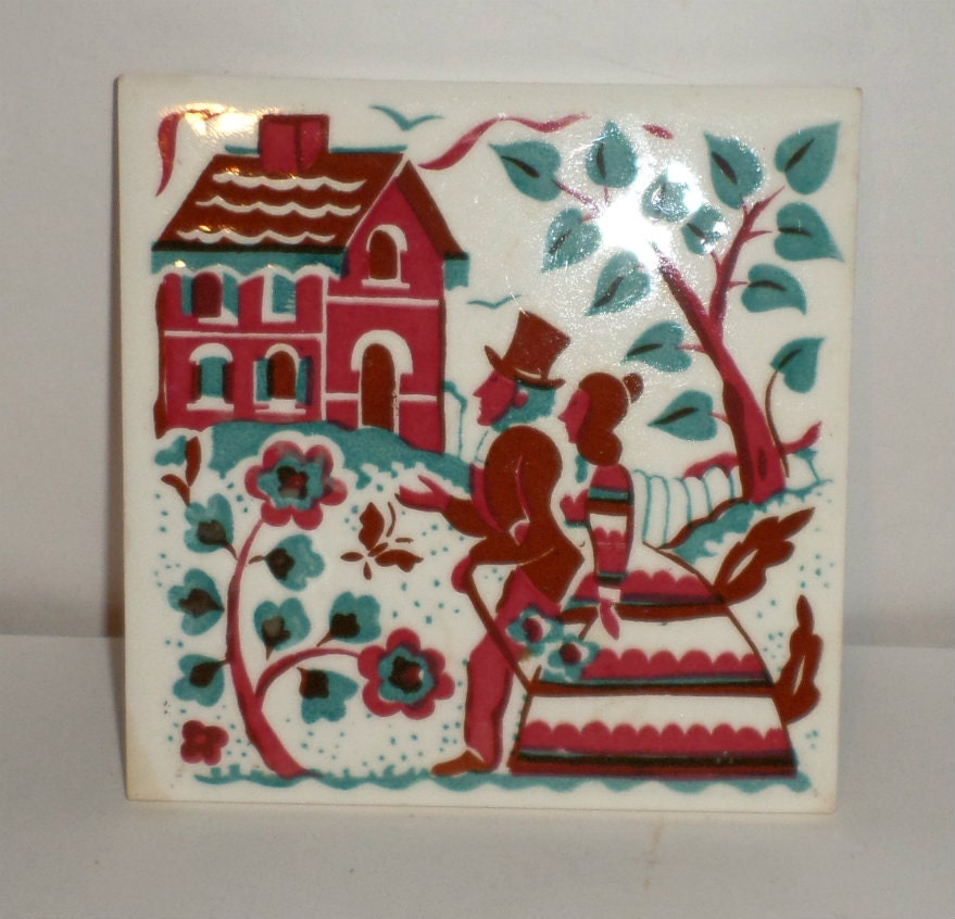 Vintage Ceramic Tile Trivet Salt Box House Trivet