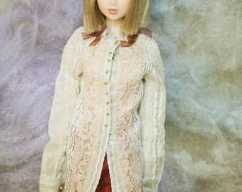 jiajiadoll - cream white laced bowknots flower long shirts dress fit momoko or misaki or blythe