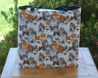 Cat Breed Variety Print Reusable Shopping Tote Bag