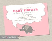 Pink Elephant Baby Shower Invitations - baby girl Invites - gender neutral (DIY Printable Digital File OR Printed Cards)