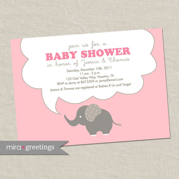 Pink Elephant Baby Shower Invitations - baby girl Invites - gender neutral (DIY Printable Digital File OR Printed Cards)