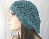 Viridian Green Mesh Slouchy Beanie, Womans Teal Green Slouchy Beanie, Blue Green Hand Knit Beanie, Knitted Mesh Hair Net Beanie