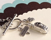 SILVER AIRSTREAM TRAILER necklace, glamping, camping sign, pinecone, camping charm necklace, 20 inch chain