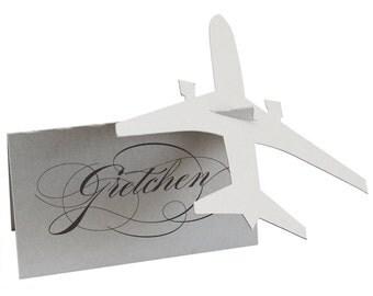Airplane Escort Cards - shimmer silver, plane place card, pilot wedding, voyage, travel wedding, bridal shower, airforce, jet, military