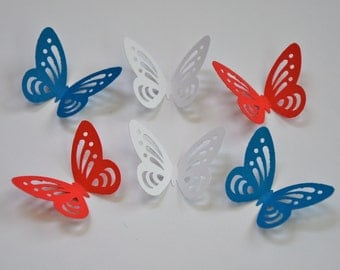 50  Butterfly. Wedding Party. Table Decor. Baby Shower. Embellishments - - Red, White and Blue