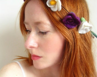 Floral Necklace,Hair adornment,Hand Felted Flower Chain