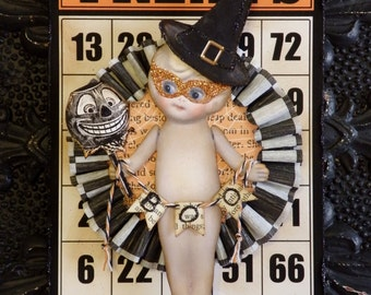 Kewpie Doll, Halloween Kewpie Witch Ornament or Wall Hanging by Stacy Marie