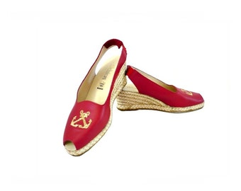 CHICA French Vintage Red Leather Wedge Sling Back Shoes