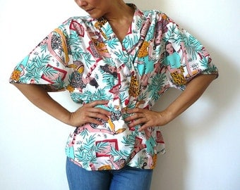 CHACOCK French Vintage Hawaiian  Blouse