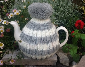 Traditional English Tea Cosy with bobble - up to a 6 cup pot - grey and white