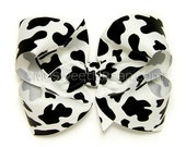 Cow Hair Bow, Cow Print Boutique Bow, Black and White Holstein Cow Bow 4 inch Hair Bow Country Farm Cowgirl Bow for Girls Toddlers Baby