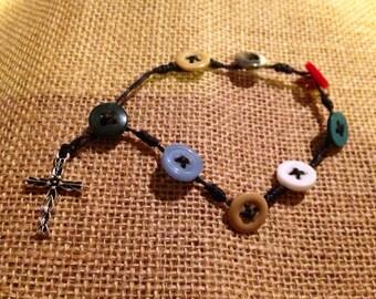 Handmade buttons rosary bracelet