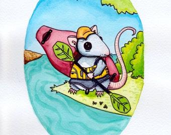 River Rat- Whitewater Kayaking Illustration Print