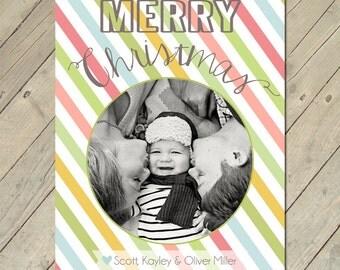Custom Photo Christmas Card - Merry Stripes