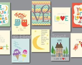 Kids Wall Art- mini love print set