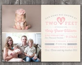Two Feet - Custom Digital Photo Baby Birth Announcement GIRL