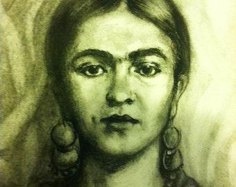 Black & White Frida Kahlo Giclee Print