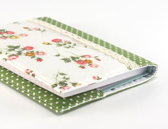Fabric Journal - Rose Garden with Green Polka Dots - Handmade Fabric Cover A6 Notebook, Diary - Pink Flowers on White With Lace