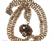 Vintage 1950's rhinestone & faux pearl lantern style pendant with brass tone rolo chain costume jewelry shipping incl to U.S.A  and Canada