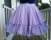Reserved For Jacky Vintage handmade Full circle purple with white Polka Dot ruffle skirt Reserved For Jacky:)