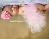 Light Pink Tutu Set, Infant Baby Girl Tutu WITH coordinating satin flower headband bow, new baby girl, hospital pictures, baby gift