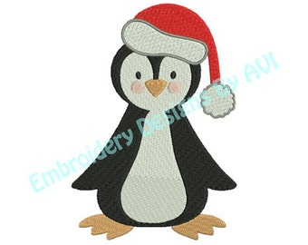 Christmas Penguin Machine Embroidery Designs 4x4 & 5x7 Instant Download Sale
