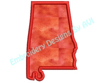 Alabama State Applique Machine Embroidery Designs 4x4 & 5x7 Instant Download Sale