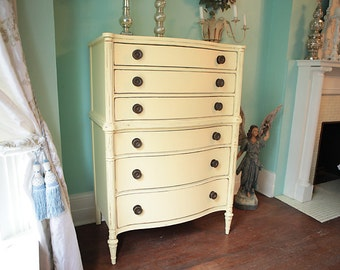 custom order antique Vintage Shabby Chic Butter Yellow Tall Dresser Distressed