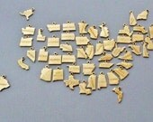 State Charms, Tiny State Charm, Gold State Charms, Brass State Charms, State Charm Only