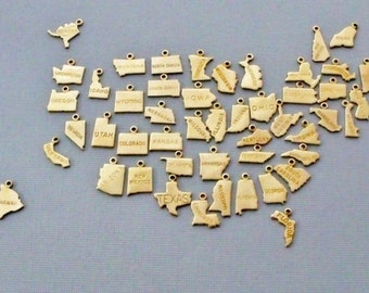 State Charms, Gold State Charms, Personalized State Charms, Choose Your State, State Charm Only, Tiny State Charms