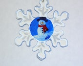 Snowflake Snowman Ornament , Hand Painted